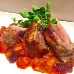 Recipe: Bacon-Wrapped Pork Tenderloin with Peach and Cherry Agrodolce
