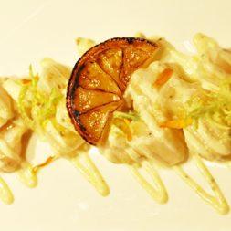Recipe: Halibut Crudo with Burnt Lemon Vinaigrette and Fennel Pollen Mayo
