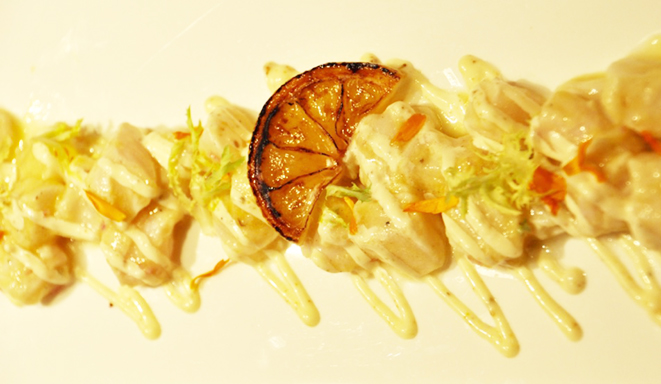 Recipe: Halibut Crudo with Burnt Lemon Vinaigrette and Fennel Pollen Mayo